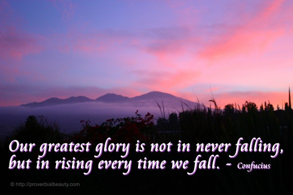 Our greatest glory is not in never falling, but in rising every time we fall. - Confucius