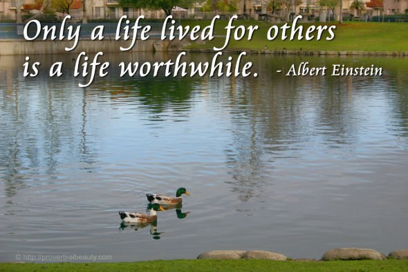 Only a life lived for others  is a life worthwhile. Albert Einstein