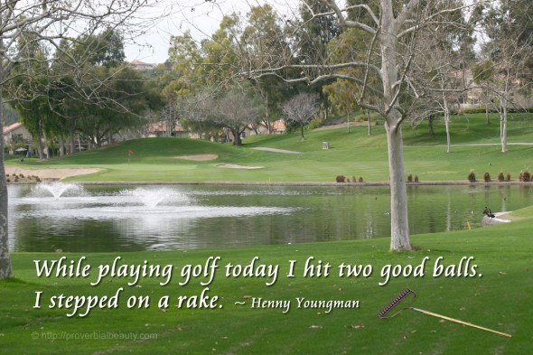 While playing golf today I hit two good balls. I stepped on a rake. ~ Henny Youngman