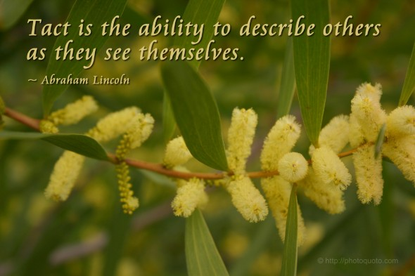 Tact is the ability to describe others as they see themselves. ~ Abraham Lincoln