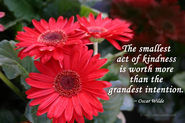 The smallest act of kindness is worth more than the grandest intention.  ~ Oscar Wilde