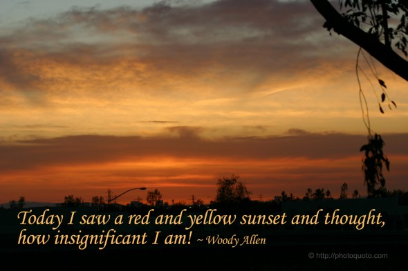 Today I saw a red and yellow sunset and thought, how insignificant I am! ~ Woody Allen