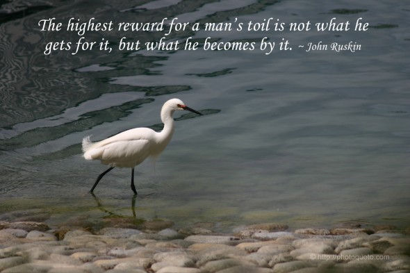 The highest reward for a man's toil is not what he gets for it, but what he becomes by it. ~ John Ruskin