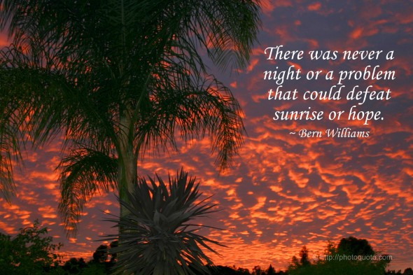 There was never a night or a problem that could defeat sunrise or hope. ~ Bern Williams