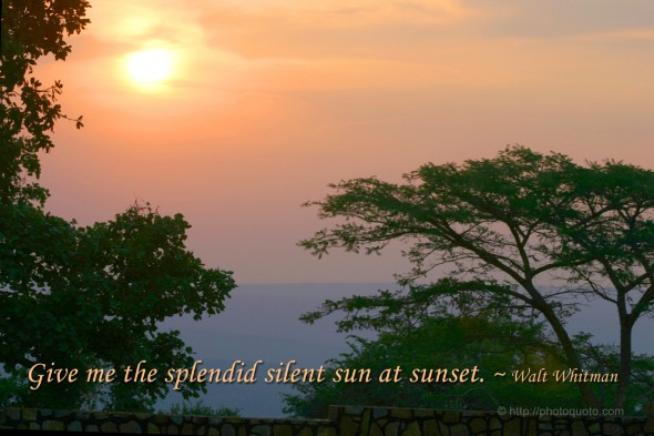 Give me the splendid silent sun at sunset. ~ Walt Whitman