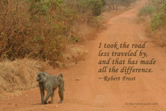 I took the road less traveled by, and that has made all the difference. ~ Robert Frost