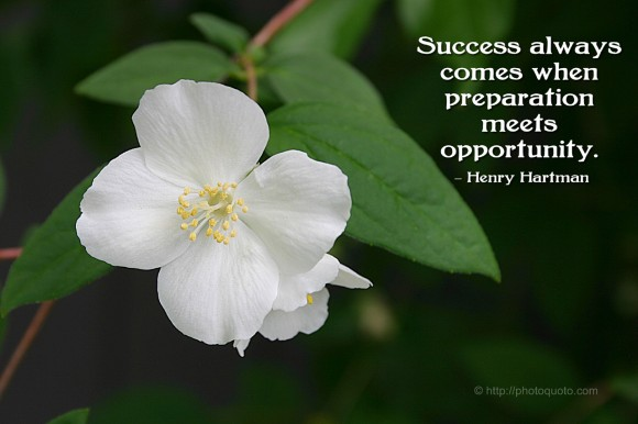 Success always comes when preparation meets opportunity. ~ Henry Hartman
