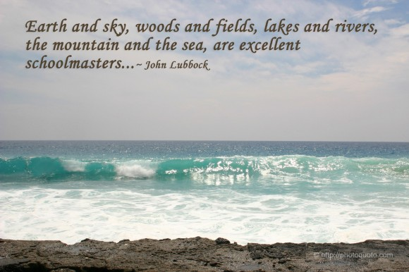 Earth and sky, woods and fields, lakes and rivers, the mountain and the sea, are excellent schoolmasters... ~ John Lubbock