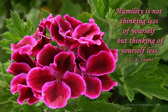 Humility is not thinking less of yourself, but thinking of yourself less. ~ C. S. Lewis
