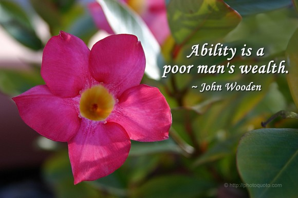 Ability is a poor man's wealth. ~ John Wooden