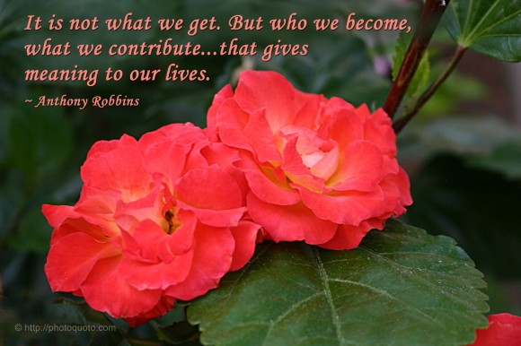 It is not what we get. But who we become, what we contribute... that gives meaning to our lives. ~ Anthony Robbins