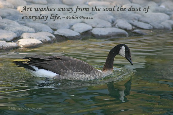 Art washes away from the soul the dust of everyday life. ~ Pablo Picasso
