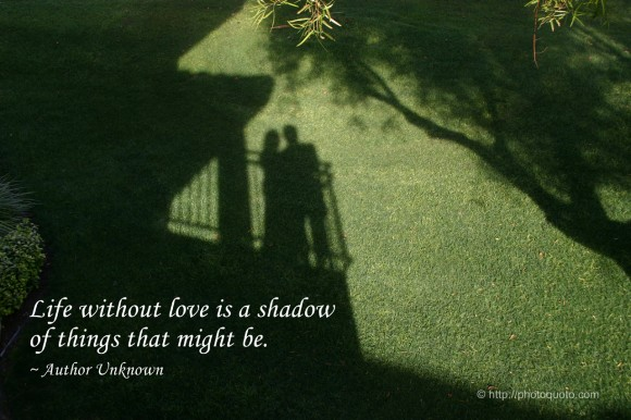 Life without love is a shadow of things that might be. ~ Author Unknown