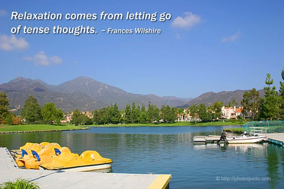 Relaxation comes from letting go of tense thoughts. ~ Frances Wilshire
