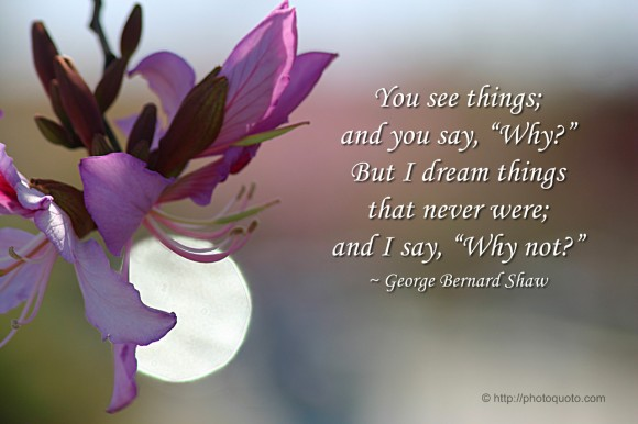 "You see things; and you say, ""Why?"" But I dream things that never were; and I say, ""Why not?"" ~ George Bernard Shaw"