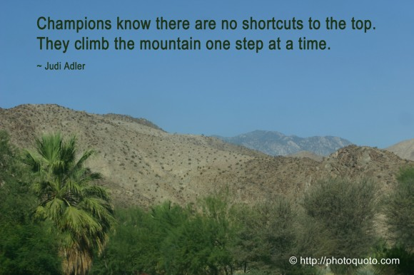 Champions know there are no shortcuts to the top. They climb the mountain one step at a time. ~ Judi Adler