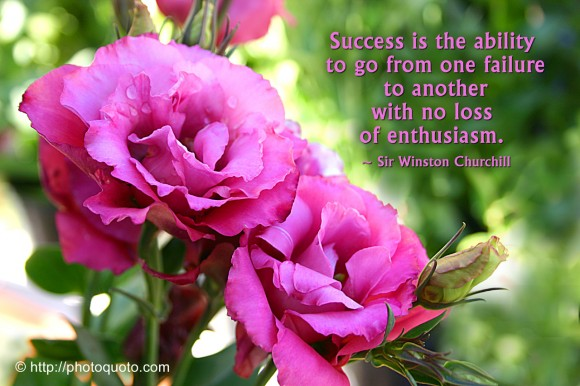 Success is the ability to go from one failure to another with no loss of enthusiasm. ~ Sir Winston Churchill