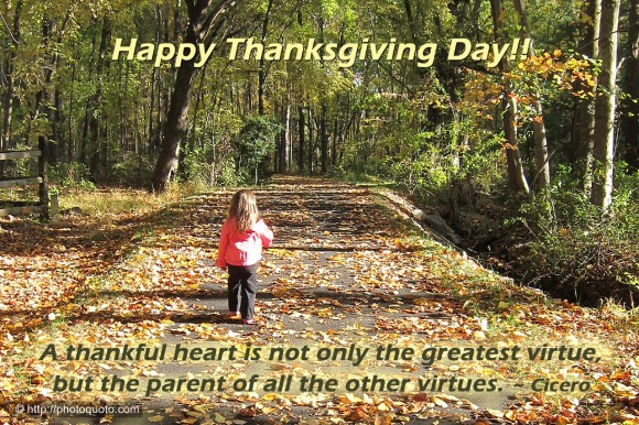 A thankful heart is not only the greatest virtue, but the parent of all the other virtues. ~ Cicero