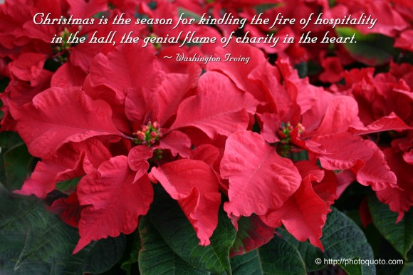 Christmas is the season for kindling the fire of hospitality in the hall, the genial flame of charity in the heart. ~ Washington Irving