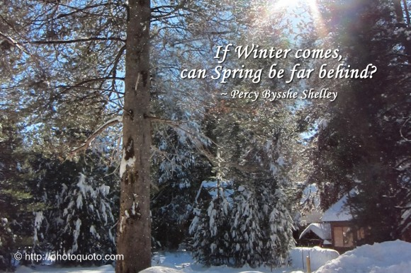 If Winter comes, can Spring be far behind? ~ Percy Bysshe Shelley