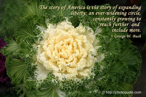 The story of America is the story of expanding  liberty: an ever-widening circle, constantly growing to reach further  and  include more. ~ George W. Bush