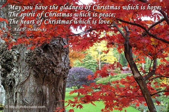 May you have the gladness of Christmas which is hope; the spirit of Christmas which is peace; the heart of Christmas which is love. ~ Ada V. Hendricks