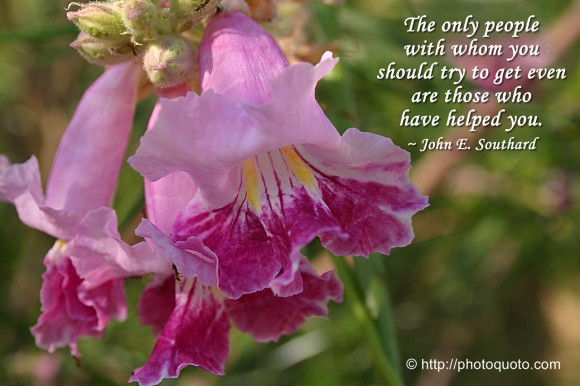 The only people with whom you should try to get even are those who have helped you.  ~ John E. Southard