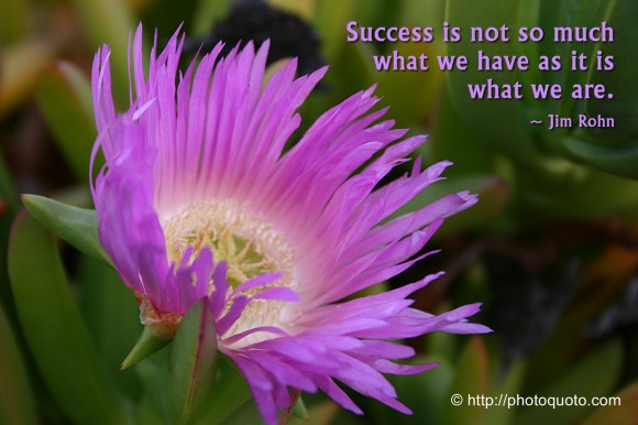 Success is not so much what we have as it is what we are. ~ Jim Rohn
