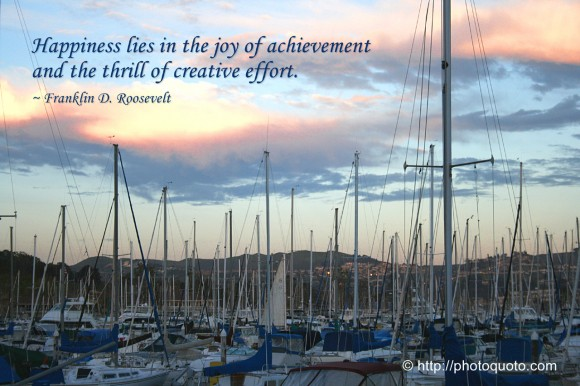 Happiness lies in the joy of achievement and the thrill of creative effort. ~ Franklin D. Roosevelt