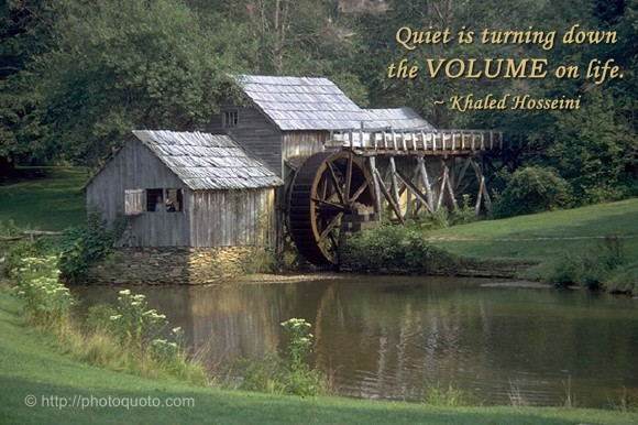 Quiet is turning down the VOLUME on life. ~ Khaled Hosseini