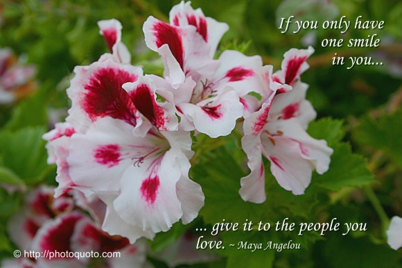 If you only have one smile in you, give it to the people you love. ~ Maya Angelou