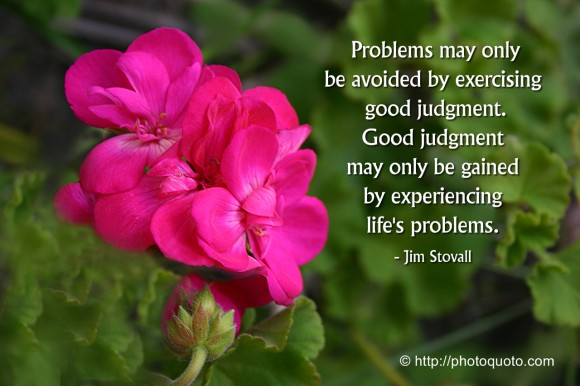 Problems may only be avoided by exercising good judgment. Good judgment may only be gained by experiencing life's problems. ~ Jim Stovall