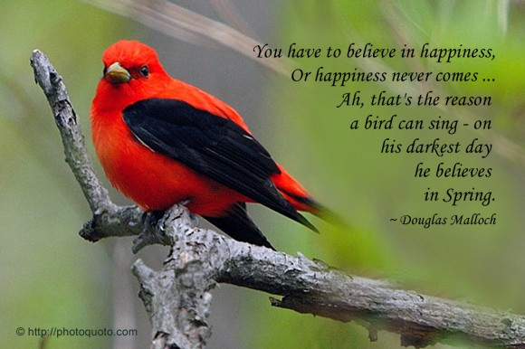 You have to believe in happiness, or happiness never comes ... Ah, that's the reason a bird can sing - on his darkest day he believes in Spring. ~ Douglas Malloch