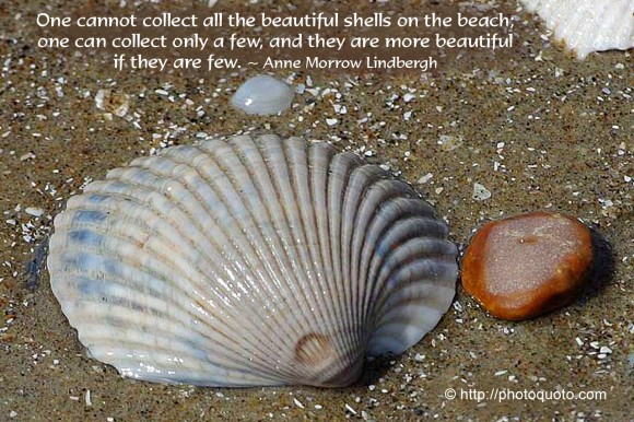 One cannot collect all the beautiful shells on the beach; one can collect only a few, and they are more beautiful if they are few. ~ Anne Morrow Lindbergh