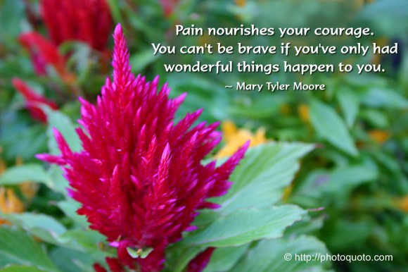 Pain nourishes your courage. You can't be brave if you've only had wonderful things happen to you. ~ Mary Tyler Moore
