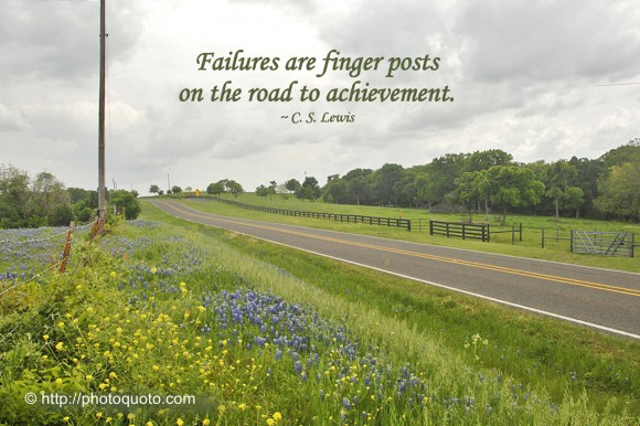 Failures are finger posts on the road to achievement. ~ C.S. Lewis