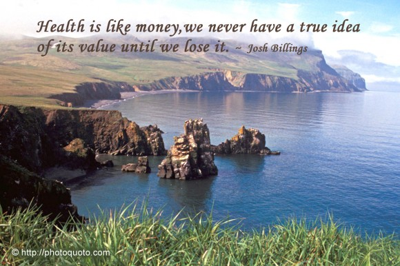 Health is like money, we never have a true idea of its value until we lose it. ~ Josh Billings