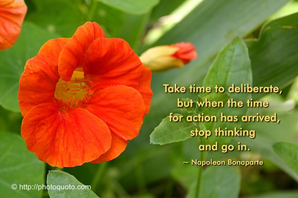 Take time to deliberate, but when the time  for action has arrived, stop thinking and go in. ~ Napoleon Bonaparte