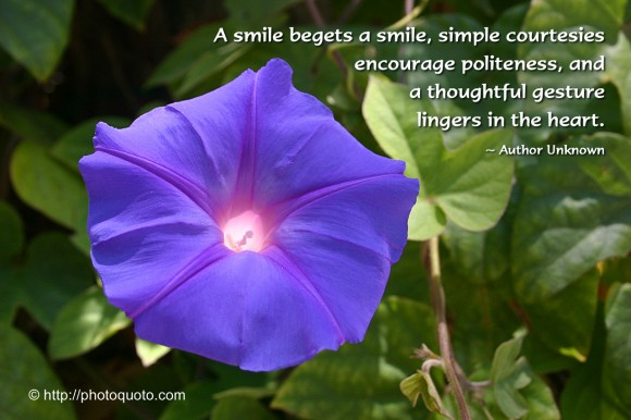 A smile begets a smile, simple courtesies encourage politeness, and a thoughtful gesture lingers in the heart. ~ Author Unknown