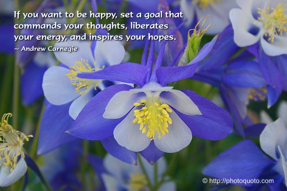 If you want to be happy, set a goal that  commands your thoughts, liberates your  energy, and inspires your hopes. ~ Andrew Carnegie