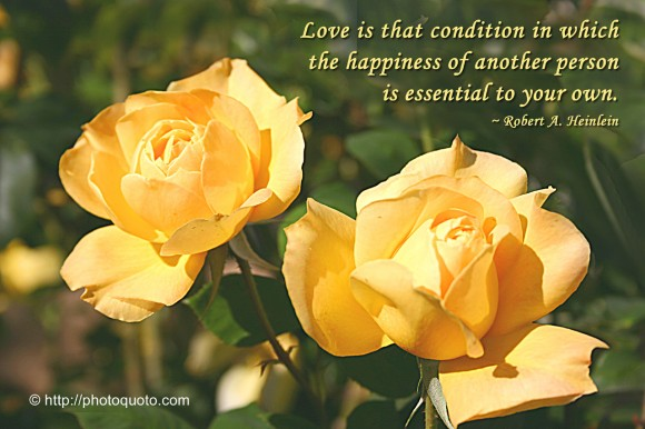 Love is that condition in which the happiness of another person is essential to your own. ~ Robert A. Heinlein