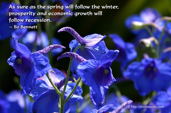 As sure as the spring will follow the winter, prosperity and economic growth will follow recession. ~ Bo Bennett