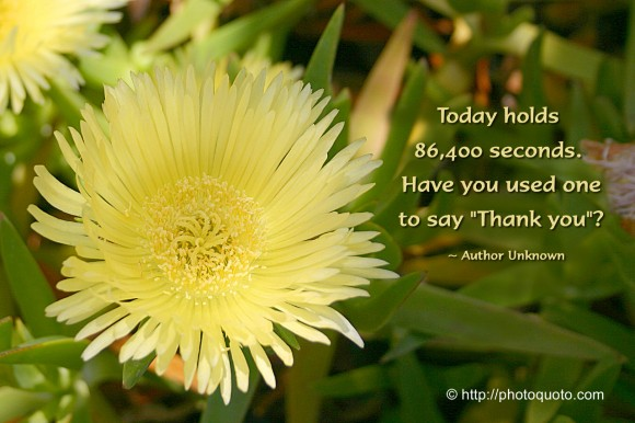 "Today holds 86400 seconds. Have you used one to say ""thank you""? ~ Author Unknown"