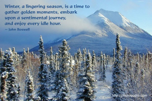 Winter, a lingering season, is a time to gather golden moments, embark upon a sentimental journey, and enjoy every idle hour. ~ John Boswell