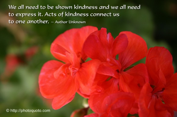 We all need to be shown kindness and we all need to express it. Acts of kindness connect us to one another. ~ Author Unknown