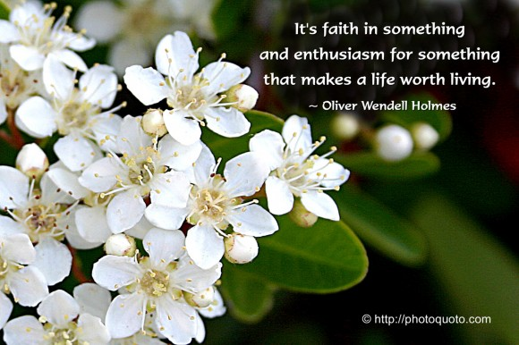 It's faith in something and enthusiasm for something that makes a life worth living. ~ Oliver Wendell Holmes