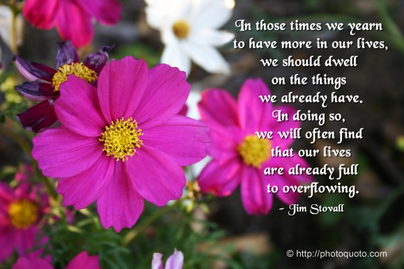 In those times we yearn to have more in our lives, we should dwell on the things we already have. In doing so, we will often find that our lives are already full to overflowing. ~ Jim Stovall