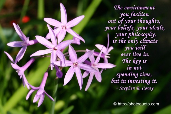 The environment you fashion out of your thoughts, your beliefs, your ideals, your philosophy, is the only climate you will ever live in. The key is in not spending time, but in investing it. ~ Stephen R. Covey