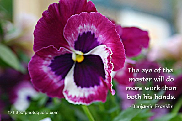 The eye of the master will do more work than both his hands. ~ Benjamin Franklin