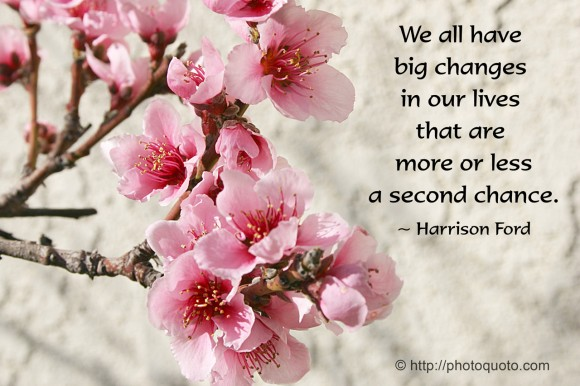 We all have big changes in our lives that are more or less a second chance.~ Harrison Ford